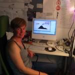 The artist in her studio, working away!